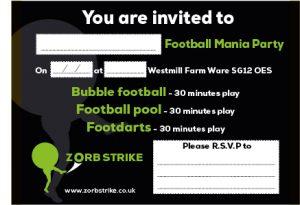 Zorb Strike Invitations football mania